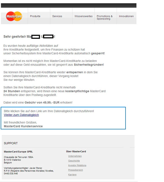 """Beispiel einer Phishing-Mail """"MasterCard gesperrt"""""""